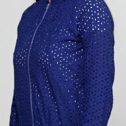 Бомбер из синего шитья