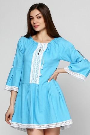 Льняное платье-туника с кружевом