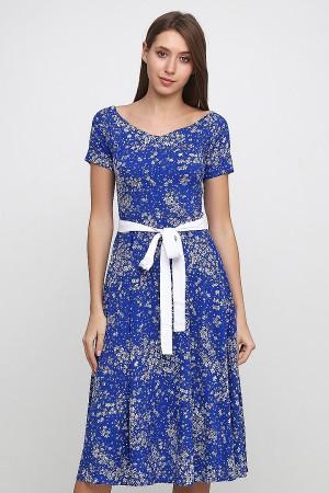 Платье с вырезом лодочки синий василек