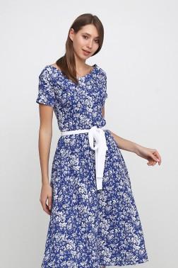 Платье с вырезом лодочки белые цветы