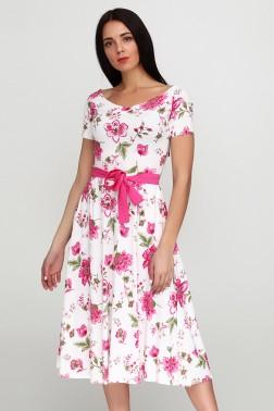 Платье с принтом розовый пион