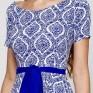Синее льняное принтованное платье