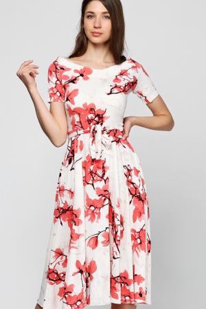 Алое льняное принтованное платье
