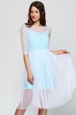 Платье из белой сетки Незабудка