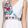 Длинное льняное платье с вышивкой Красный Цветок