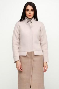 Зимнее пальто с вязанными рукавами