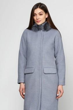 Серо-голубое зимнее пальто