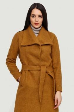 Горчичное  пальто из мохера