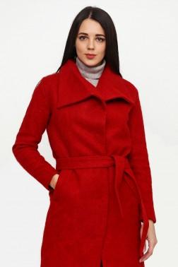 Красное  пальто из мохера