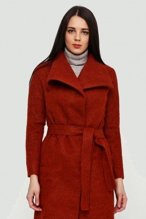 Терракотовое пальто из мохера