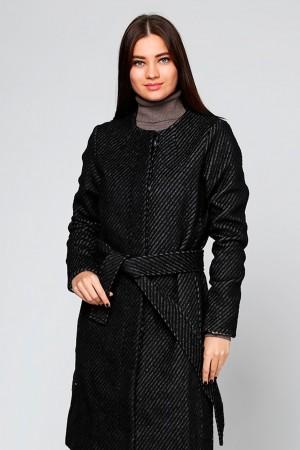 Черное пальто из фактурной шерсти