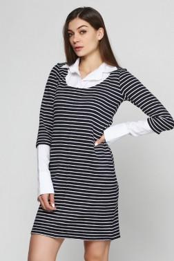 Платье в полоску с белым воротничком