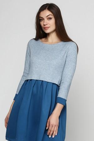 Синее платье из рубчика