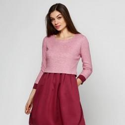 Бордовое платье из рубчика