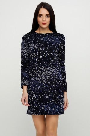 Черное платье звездный принт