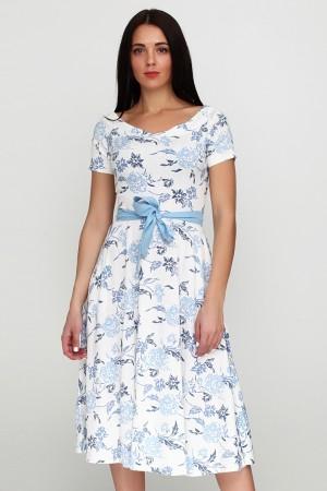 Платье с принтом синяя роза