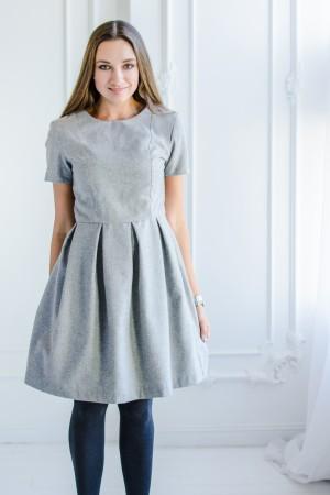 Платье из серого льна с шерстью