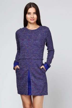 Платье из синего букле