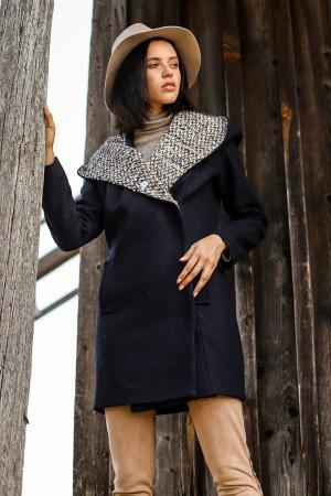 Темно-синее пальто с капюшоном из  букле