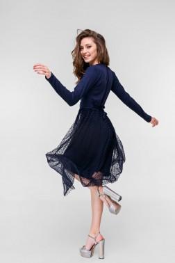 Синее трикотажное платье на запах