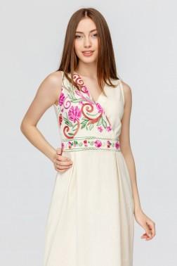 Длинное платье с вышивкой Розовый Цветок