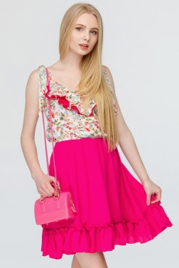Контрастное платье с принтом полевых цветов