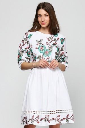 Льняное платье  с вышивкой Птицы
