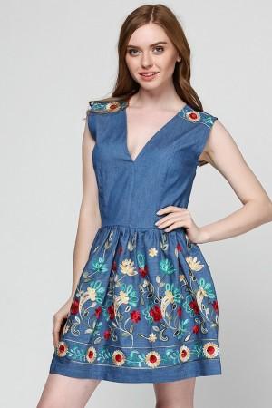 Платье-комбинезон из джинсового батиста