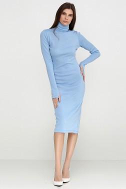 Светло-голубое платье-гольф