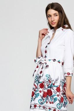 Платье рубашка изо льна с вышивкой Красный Цветок