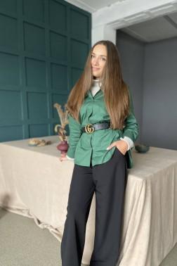 Зеленая рубашка oversize