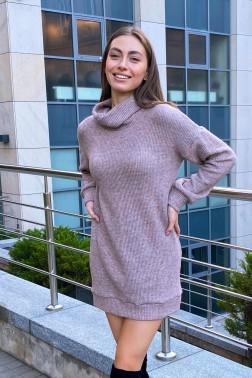 Платье из вязанного трикотажа коричневое
