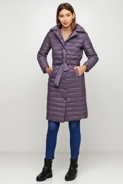 Стеганое лиловое пальто