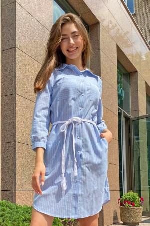 Голубое платье-рубашка