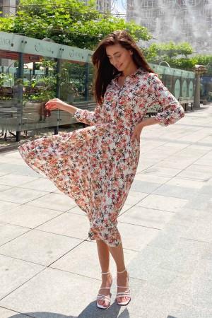 Платье с принтом спелая рябина