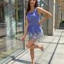 Синее платье-комбинезон с вышивкой бархатцы