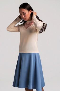 Сине-голубая трикотажная юбка полусолнце