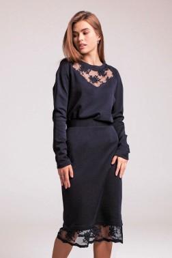Темно-синяя трикотажная юбка карандаш