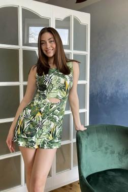 Платье-комбинезон тропические листья