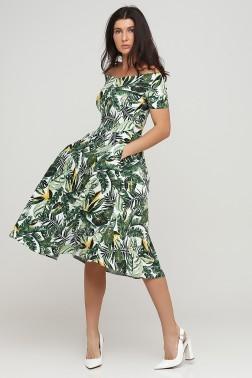Платье с вырезом лодочкой тропические листья