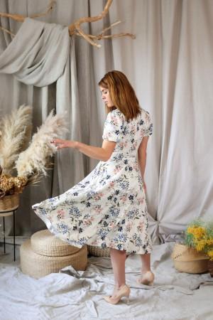 Платье миди с цветком пролеска