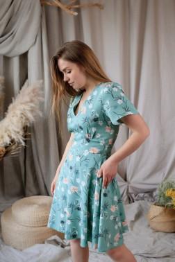 Зеленое платье цветы хлопка