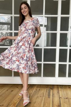 Платье с вырезом лодочки незабудка