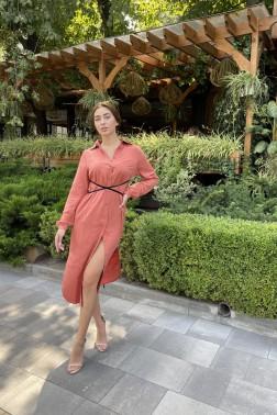 Терракотовое платье с бархатным поясом