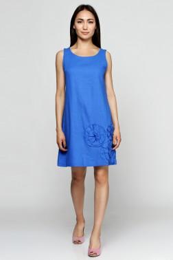 Платье-колокольчик из синего льна