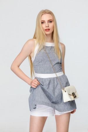 Льняное платье-комбинезон