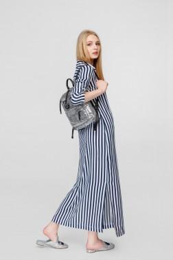 Полосатое платье-рубашка в пол