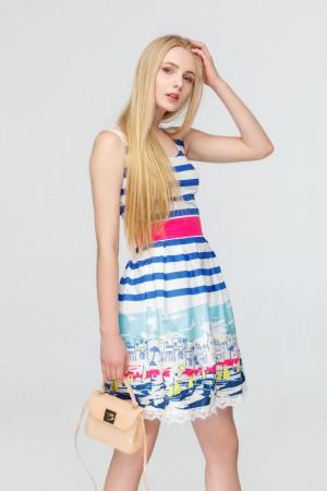 Платье в синюю полоску Лодочки