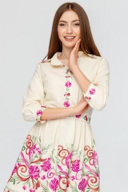 Платье рубашка с вышивкой Розовый Цветок