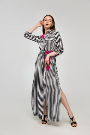 Полосатое платье-рубашка в черную полоску